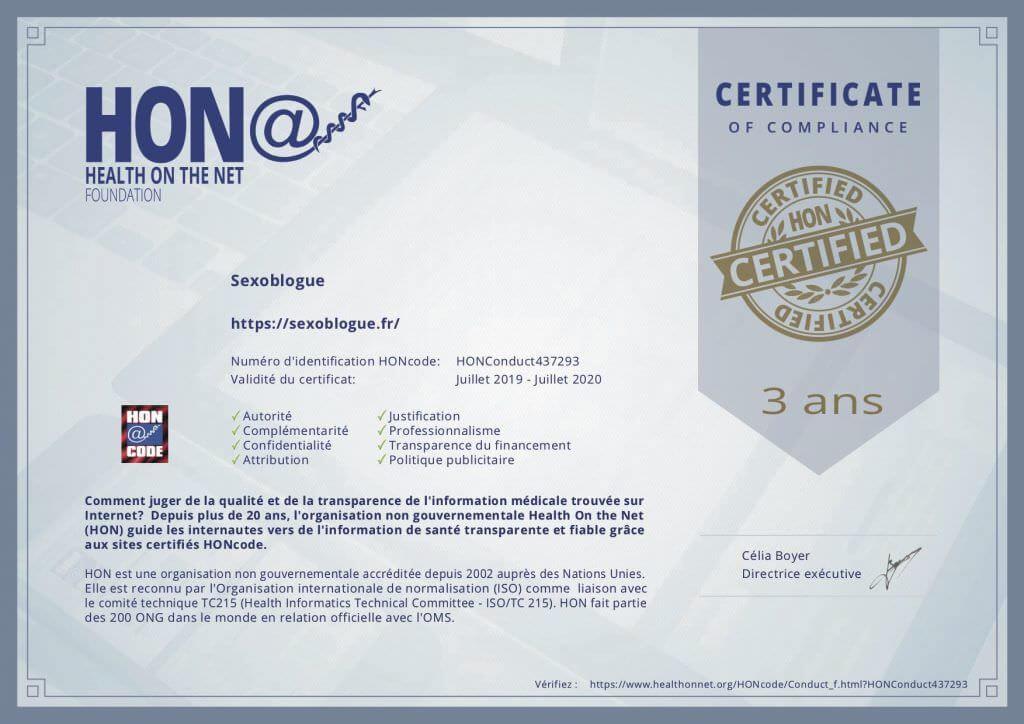 Certificat HONCode Sexoblogue